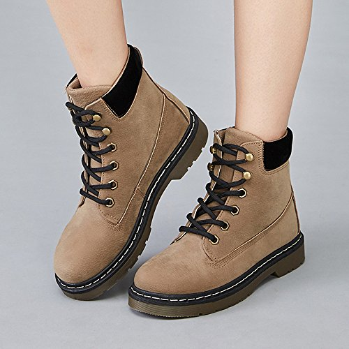 Faux Ankle Da Cotton Casual Scarpe Scamosciate Lace Fur Stivali Khaki Up Custome Donna Invernali Martin qBnFv