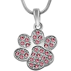 "Adorable Silver Tone Puppy Dog Kitten Cat Animal Pink Crystal Paw Print 3/4"" Charm Necklace Girls Teens Women"