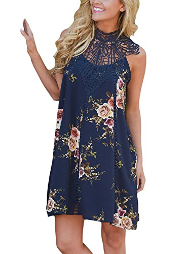 Dokotoo Womens Sexy Summer Boho Beach Floral Print Loose Mini Dress Navy (Blue Juniors Dress)