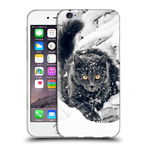 Just Phone Cases Coque de Protection TPU Silicone Case pour // V00004192 Chat dans les buissons couverts de neige // Apple iPhone 6 4.7""