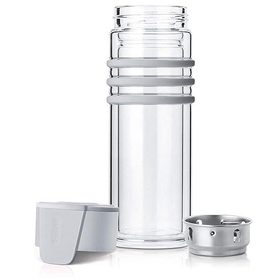 ROMAUNT Botella de Té de Cristal con Infusor Filtro,Taza de Vidrio y Cantimplora de Viaje 300ml con Estuche Protector para Té de Hojas Sueltas, ...