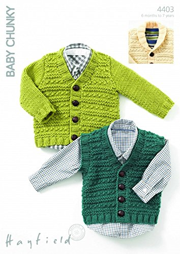 b824e288e8d1 Sirdar Baby Hayfield Baby Chunky Cardigans   Waistcoat Knitting Pattern 4403