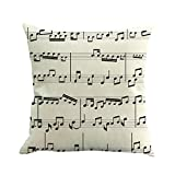 Jujunshangmao Musical Note Pattern, Classical Style, Decorative Linen Pillow