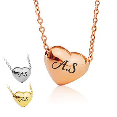 f9bfadb36 Howson London Personalised Name Necklace Plated Heart Pendant - Free  Engraving Letter Or Initial - UK Stock: Amazon.co.uk: Jewellery