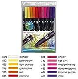 Tombow ABT Dual Brush Pen includes Blender Pen - Sunset Colours (Pack of 12)