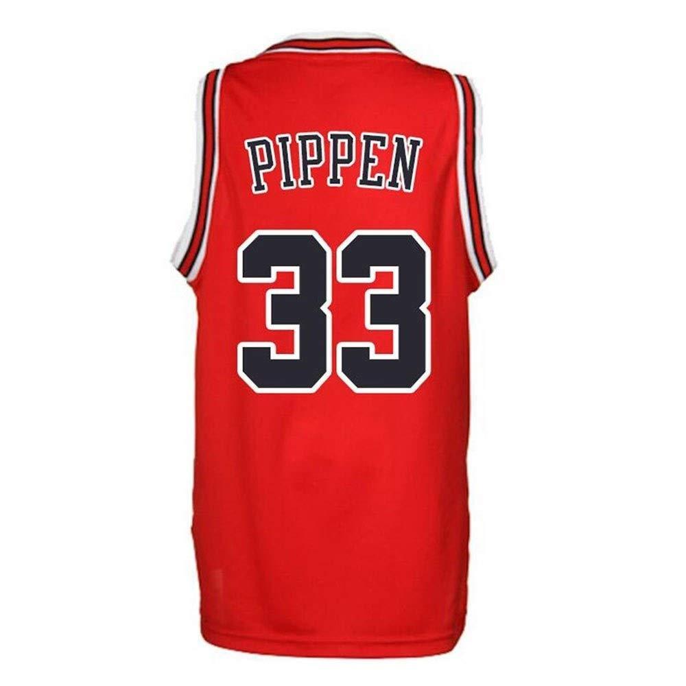 NBALL-HU Camisetas De Baloncesto para Hombre Chicago Bulls Pippen # 33 Fan Jersey Chalecos Sin Mangas Bordados Cl/ásicos Camiseta De Baloncesto De Verano,Rojo,S:165~170cm