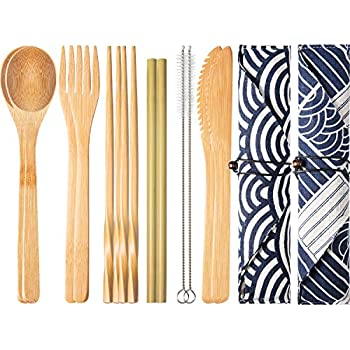 Spoon Bamboo Cutlery Set Uk Top Seller Buy One Get One Free Knife Fork Reusable With Carry Case