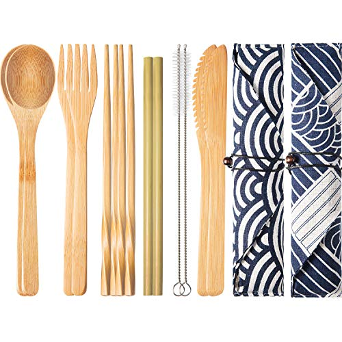 Boao 2 Sets of Reusable Bamboo Utensils Travel Cutlery Set with Case, Forks Knives Chopsticks Spoons Straws and Brushes, Camping Flatware Set (Pattern 2)