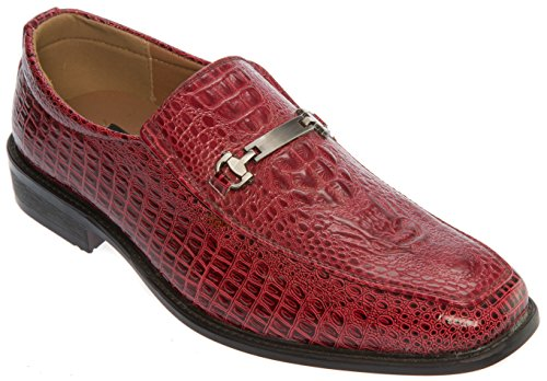 Parrazo Mens Slip-On Oxfords-Shoes PU Leather Casual Fashion or Formal Business Dress Burgundy