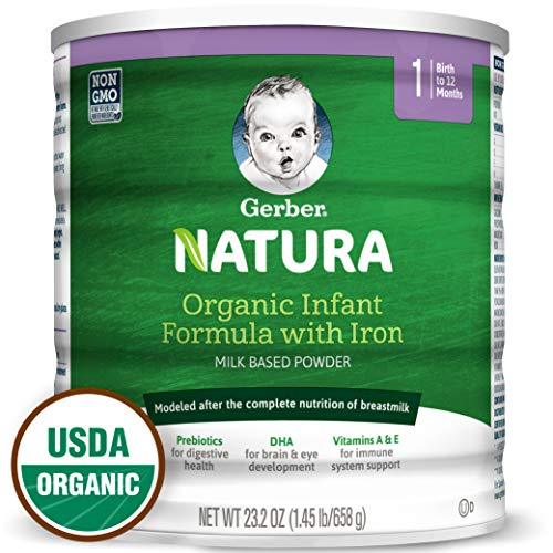 Gerber Natura Organic Infant Formula with Iron, Prebiotics, DHA, Vitamins A&E, 23.2 ounce