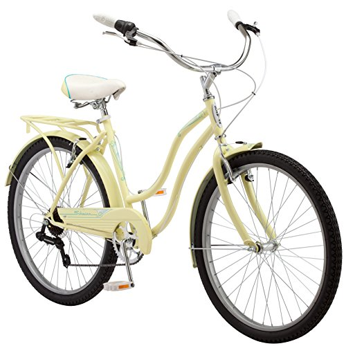 Schwinn Perla Women's Cruiser Bicycle, Featuring 18-Inch Step-Through Steel Frame and 7-Speed Drivetrain with Front and Rear Fenders, Rear Rack, and 26-Inch Wheels, Yellow (Adult Banana Seat Bicycle)