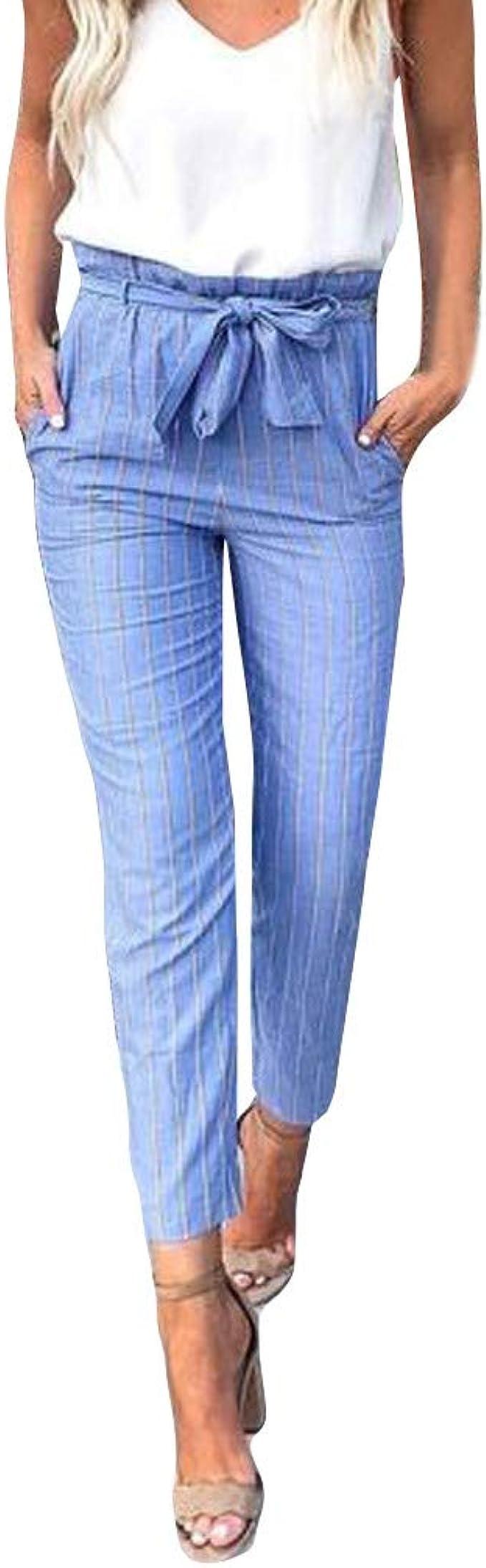 Amazon Com Nrealy Pantalones Womens Fashion Tartan High Waist Stripe Trousers Ladies Pants Clothing