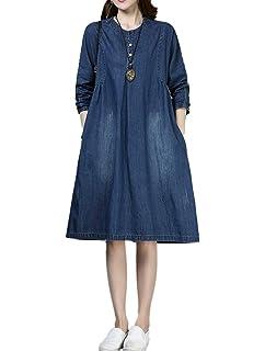 5cc28c50d3 Mordenmiss Women s New Denim Dresses Long Sleeve A-line Shirt Dress with  Pockets