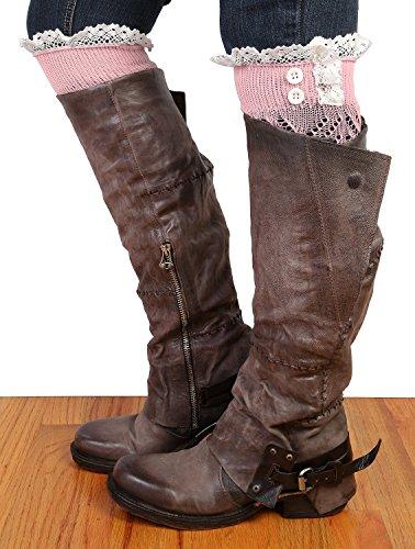 Amerikansk Trend Kvinners Nydelig Blonder Strikke Trim Boot Mansjetter Rosa