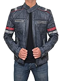 Leather Bomber Jackets Men - Lambskin Distressed Brown Vintage Mens Leather Jacket