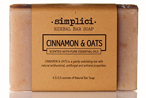 SIMPLICI Cinnamon Oat Bar Soap (scented with pure essential (Moisturizing Scented Bar Soap)