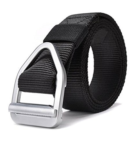 Fairwin Surival Military Style Tactical Rigger Belt Army Trainer Fire Rescue Webbing belt (black)