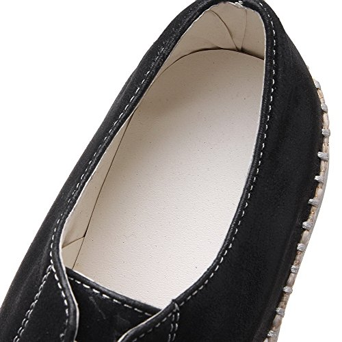 On Pumps Low Pull Closed Round AllhqFashion Color Shoes PU Black Assorted Heels Toe Womens wEpgqHHTSC