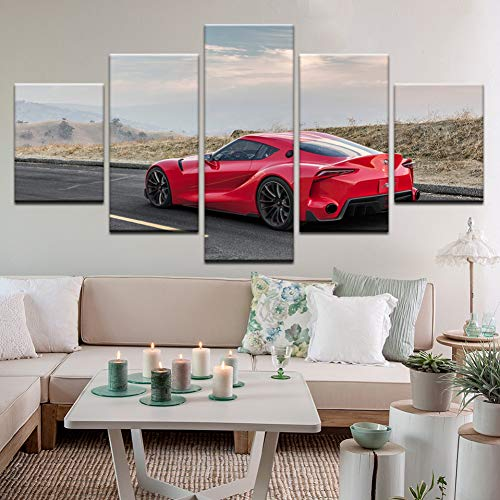 HIOJDWA Paintings Modern Hd Printed Modular Pictures Frame Wall Art Poster 5 Panel Ft1 Racing Car Canvas Painting Home Decor