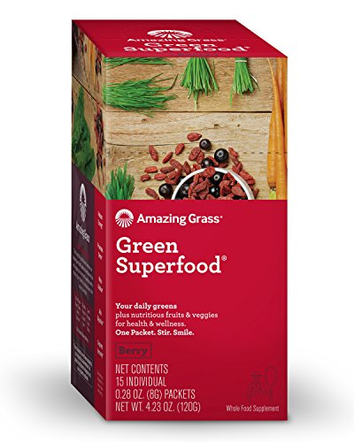 Amazing Grass Green Superfood: Organic Wheat Grass and 7 Super Greens Powder, 2 servings of Fruits & Veggies per scoop, Berry Flavor, 15 Servings