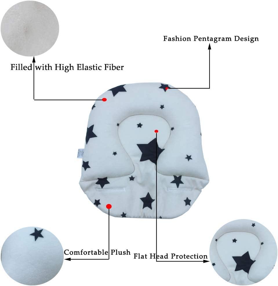 White Baby Head Shaping Pillow for Newborn Breathable Soft Cotton Infant Pillow for Flat Head Syndrome Prevention Pillow for Sleeping