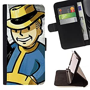 BullDog Case - FOR/HTC DESIRE 816 / - / Vintage Retro Vault Boy /- Monedero de cuero de la PU Llevar cubierta de la caja con el ID Credit Card Slots Flip funda de cuer