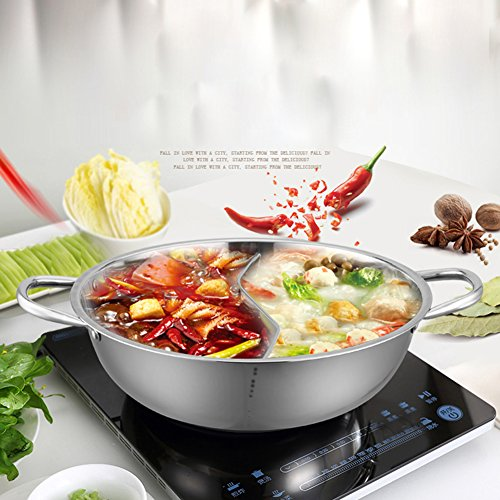 Hot Pot, Giveme5 Stainless Steel Twin Hot Pot Cookware Shabu Shabu Dual Sided Induction Cooker Gas Furnace Include Pot Lid and Pot Spoon (30cm) by Giveme5 (Image #2)'