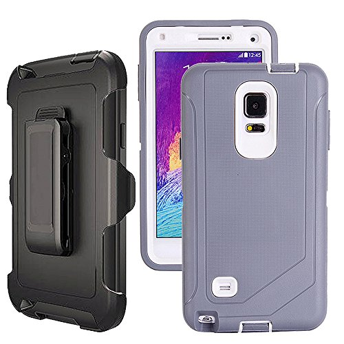 Galaxy Note 4 Case Heavy Duty,Harsel Defender Bumper Shockproof Dustproof Dropproof 3 Layer Rugged Protective Shell Case w/Built-in Screen Protector & Belt-Clip for Samsung Galaxy Note 4 (Grey White) (Galaxy Note 4 Case Otterbox Armor)