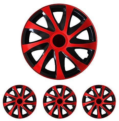 Tapacubos - Tapacubos Tapacubos DRACO Rojo 16 pulgadas 16? R16 universal apto para casi todos los vehículos estándar con llantas de acero por ejemplo ...
