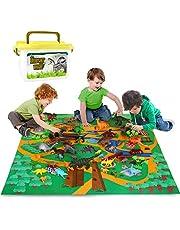 Vanplay 53-Delige Dinosaurus-modelset met Speelmatten Realistische Dino-speelgoedfiguur Diverse Bomen Eieren Educatieve Spellen voor Jongens Meisjes Kinderen