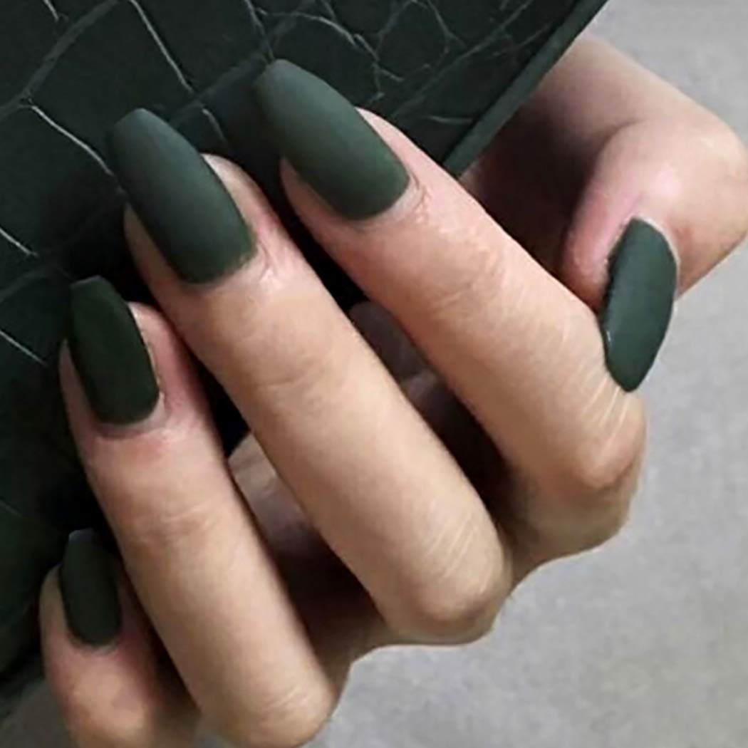 Drecode 24Pcs Punk Matte Fake Nails Coffin Nails Fashion Party Full Cover  False Nails for Women and Girls (Green)