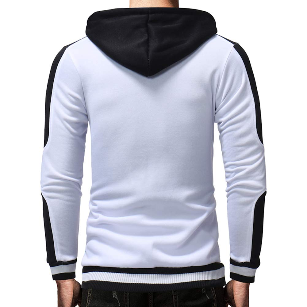 DSstyles Man Fashion Threaded Cuff Color Matching Silm Pure Color Hoodies