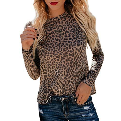 Elegantes Larga Mujer Blusas Fiesta Camisa Señoras Manga camisetas Suéter Leopardo Impreso Casual Originales Sudadera Top Amarillo Rawdah qgt0Rxw