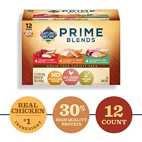 Nature's Recipe Prime Blends Wet Dog Food, Variety Pack Recipe, 2.75 Ounce Cup (Pack of 12), Grain Free