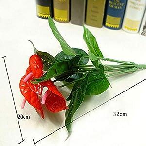 Ligntean Nice DIY Craft High Quality Silk Anthurium Home Party Decor Artificial Flowers Fake Bouquet 3