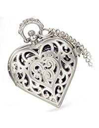 Lancardo Vintage Heart Shape Hollow Out Silver Tone Pocket Fob Watch With Chain