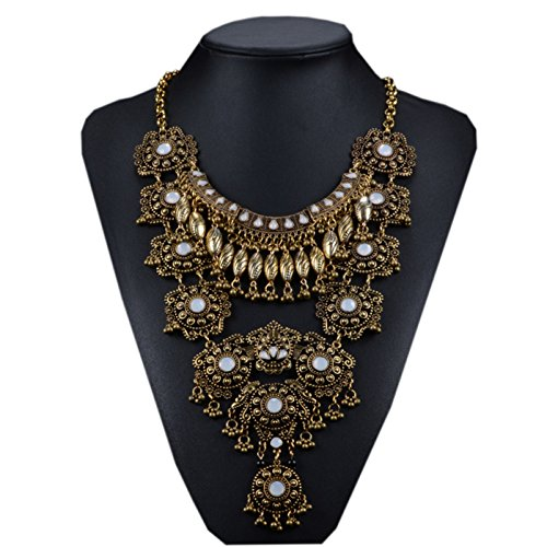 - Santfe Vintage Silver Gold Long Boho Statement Necklace Trendy Bohemian Turkish for Women Accessories From Indian Jewelry (Gold-3)