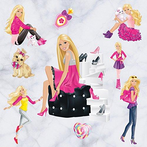 [Newest Version] Home Decorative 3D Effect Cute Barbie Girls Mural Removable Wall Sticker Cartoon Kids Nursery Wall Art Decal Wallpaper Black (Barbie Mural)