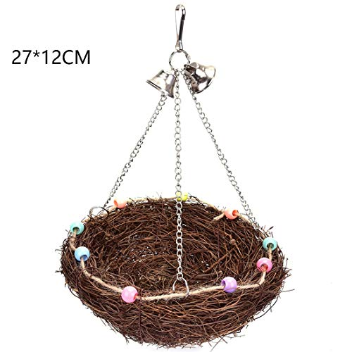 LoCbaT- 1pc Parrot Bell Toys Pet Bird Bites Climb Chew Toy Hanging Cockatiel Parakeet Chewing Cage With – Pack Rawhide…