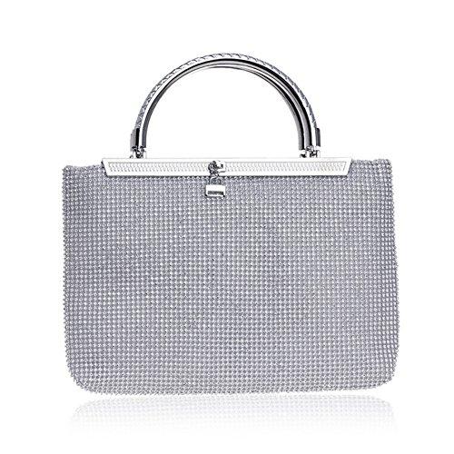 Silvery Party Bag Evening Crystal Purse Beaded Handbag Women's Evening Bag Clutch Dress 0PfYp0q