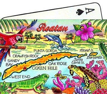 Roatan Honduras Map Collectible Souvenir Playing Cards