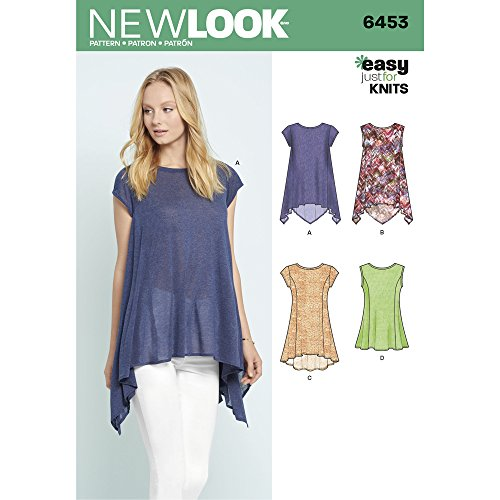 - New Look Patterns Misses' Easy Knit Tops A (6-8-10-12-14-16-18) 6453