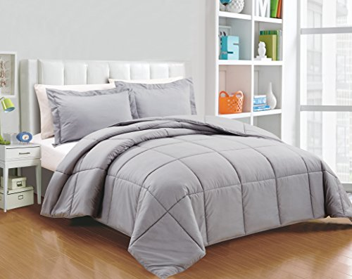 "Chezmoi Collection 3-Piece Down Alternative Comforter Set (Queen, Paloma Gray) - Down alternative comforter for year round Box stitching design to avoid any shifting 1 Comforter 88""x88"". 2 Shams 20""x26""+2"" - comforter-sets, bedroom-sheets-comforters, bedroom - 51H5II0kZeL -"