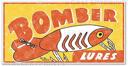 BOMBER LURES Vintage Fishing Lure Canvas Print Ad - measures 12