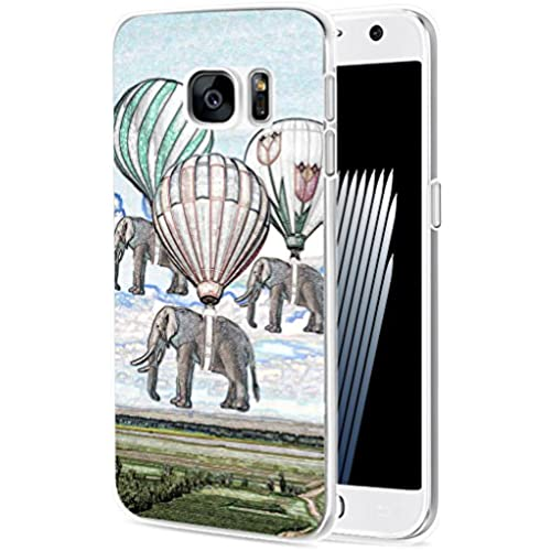 S7 Case Elephant/ IWONE Samsung Galaxy S7 Case Tpu Skin Cover Protective Rubber Silicone + Creative Elephant Vintage Paintings Print Animal Sales