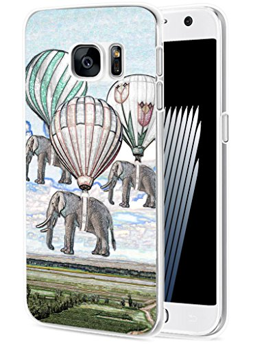 S6 Case Elephant/ IWONE Designer TPU Rubber Durable Compatible Cover Skin Transparent Cover Shockproof For Samsung Galaxy S6 + Creative Elephant Vintage Paintings Print Animal