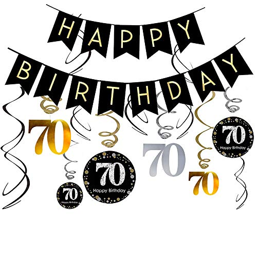 70th Birthday Decorations Kit- Gold Glitter Happy Birthday Banner & Sparkling Celebration 70 Hanging Swirls-70th Anniversary Decorations -