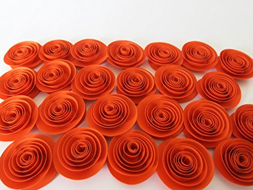 Dark Orange Paper Flowers Set of 24 Embellishment Ideas Bling, Halloween Party Decorations, Fall Autumn Thanksgiving Dinner Table Decor 1.5