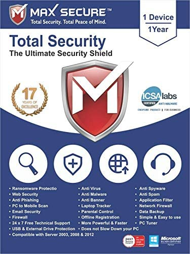 Max Secure Software Total Security for PC 2019   Antivirus   Internet Security   1 Device   1 Year   [PC Online code]