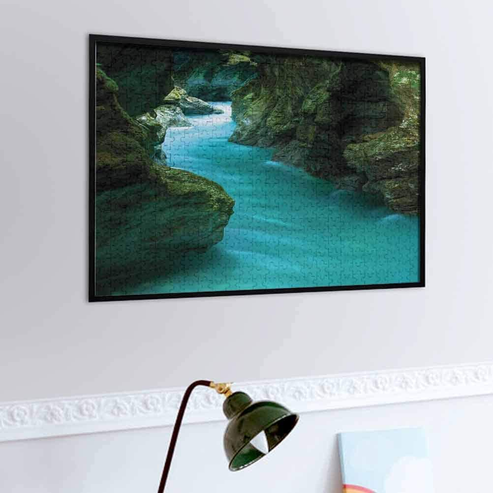 prunushome Waterfall Wooden Puzzle Jigsaw Tolminka Alpine River Water and Caves Exotic Nature Travel Picture – Challenge Yourself Turquoise Dark Green   1,000-piece
